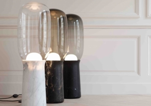 lighting: TORCH:  BASE IN WHITE CARRARA, BLACKMARQUINA MARBLEOR BLACK AND GOLD MARBLE.. SANDED GLASS DIFFUSER.H 90 X ∅ 28 CM | ARCHONTIKIS- COLLECTION PARTICULIERE