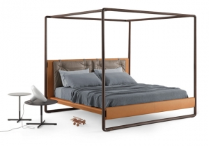 furniture: VOLARE:ROBERTO LAZZERONI OUTLINES A LIGHT AND AIRY VISION OF THE CLASSIC FOUR-POSTER BED. HIS DESIGN IS FOR A LARGE STRUCTURED BED, LUXURIOUS IN TERMS OF ITS WORKMANSHIP AND NATURAL MATERIALS, YET AT THE SAME TIME DISCRETE AND SPARING. | POLTRONA FRAU